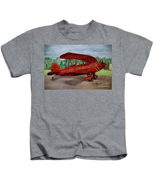 Red Biplane Kids T-Shirt by Megan Cohen