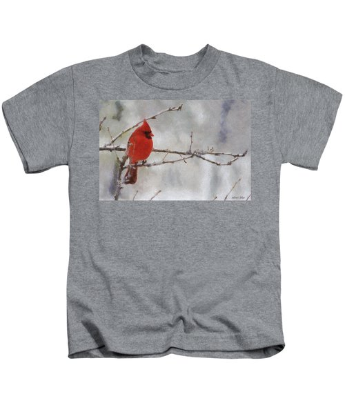 Red Bird Of Winter Kids T-Shirt