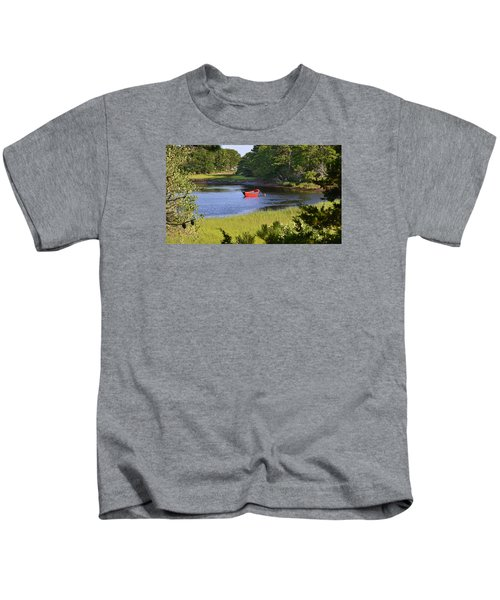 Red Boat On The Herring River Kids T-Shirt