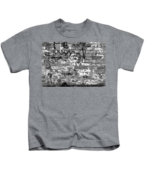 Red Construction Brick Wall And Spray Can Art Signatures Kids T-Shirt
