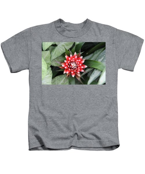 Red Flower With White Tips Kids T-Shirt
