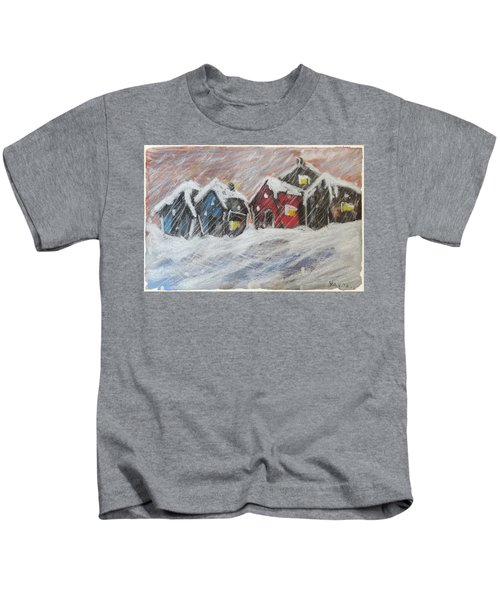 Red House In The Snow Kids T-Shirt