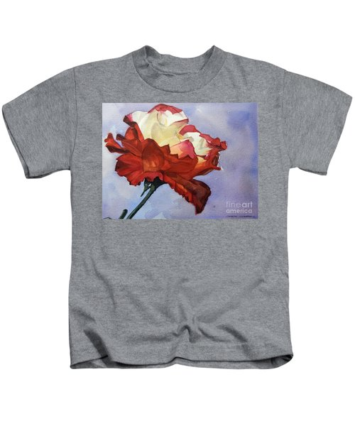 Watercolor Of A Red And White Rose On Blue Field Kids T-Shirt