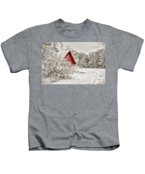 Red Shed In The Snow Kids T-Shirt