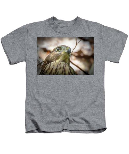 Red-shouldered Hawk Fledgling 3 Kids T-Shirt