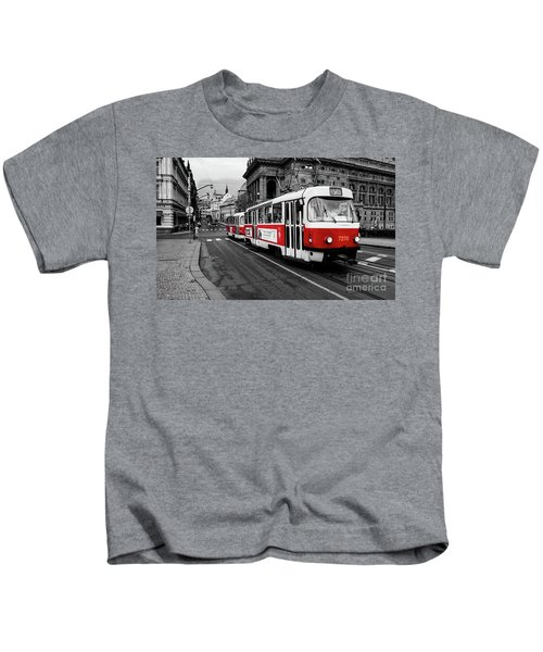 Prague - Red Tram Kids T-Shirt