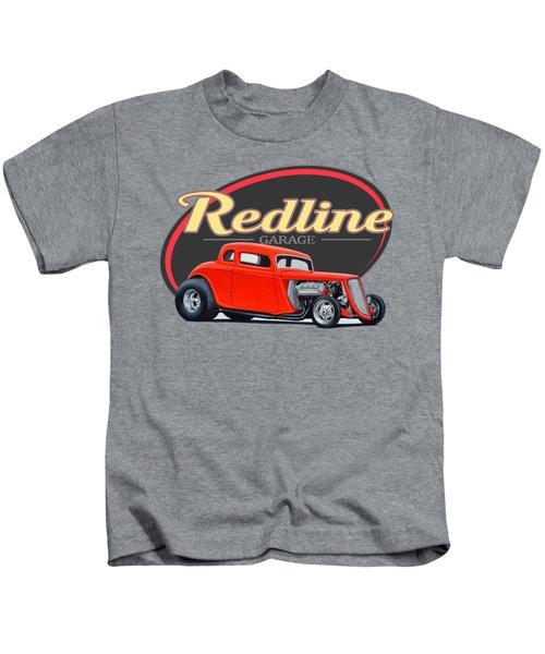 Redline Hot Rod Garage Kids T-Shirt