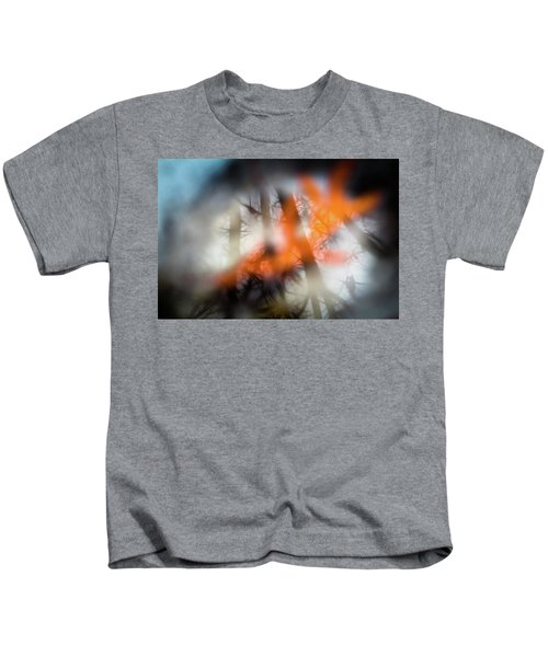 Reflection Of Trees Over An Oak Leaf Encased In Water And Ice Kids T-Shirt