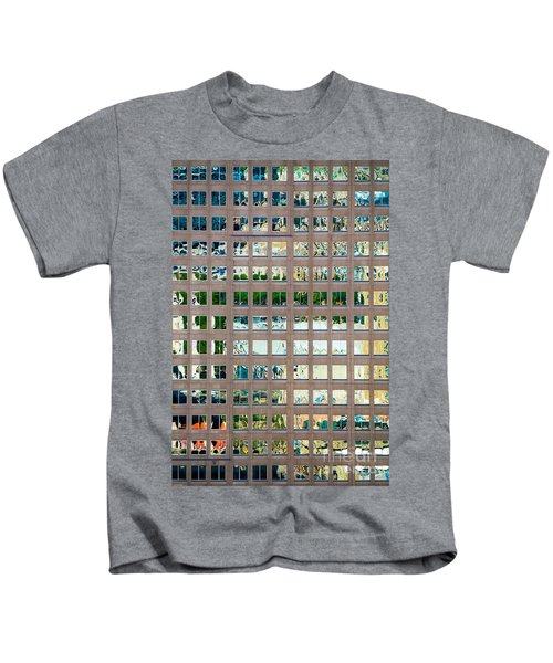 Reflections In Windows Of Office Building Kids T-Shirt