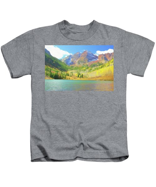 The Maroon Bells Reimagined 1 Kids T-Shirt