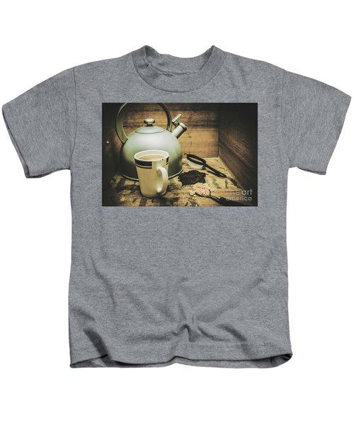 Retro Vintage Toned Tea Still Life In Crate Kids T-Shirt