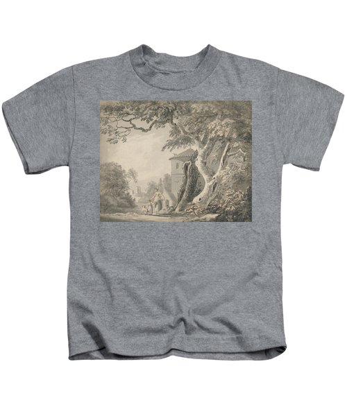 Romantic Landscape With Figures And A Dog Kids T-Shirt