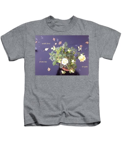 Rose On Glass Table With Loving Wishes Kids T-Shirt