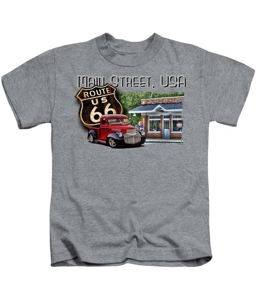 Route 66 Chevy At The Station Kids T-Shirt