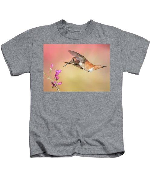 Rufous Hummingbird With Penstemon Kids T-Shirt