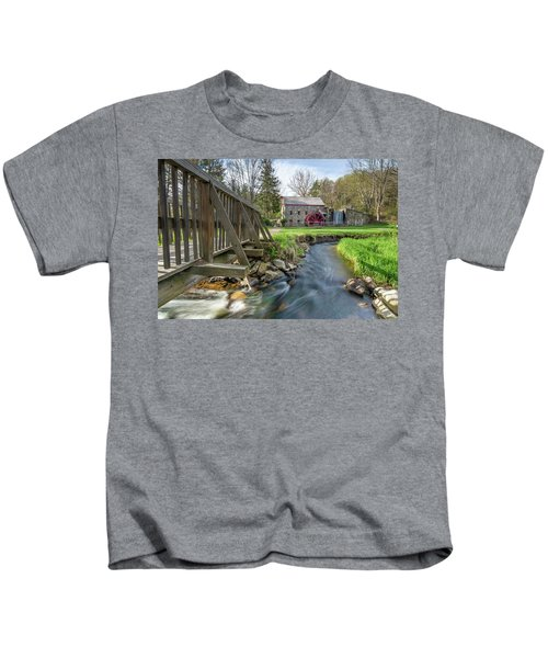 Rushing Water At The Grist Mill Kids T-Shirt