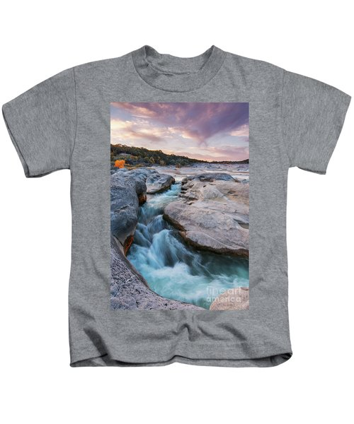 Rushing Waters At Pedernales Falls State Park - Texas Hill Country Kids T-Shirt