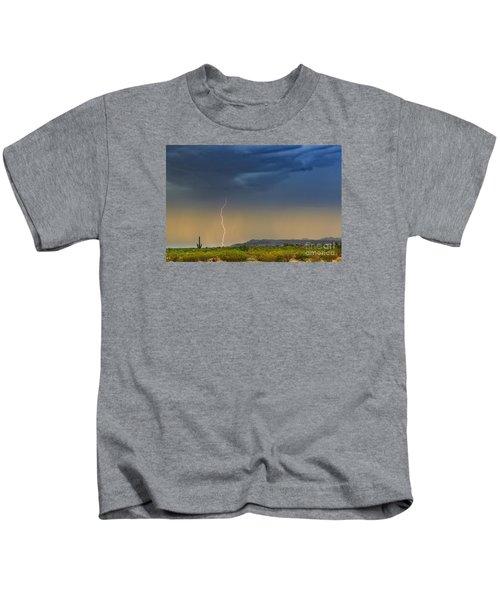 Saguaro With Lightning Kids T-Shirt