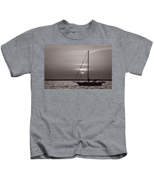 Sailboat Sunrise In B And W Kids T-Shirt