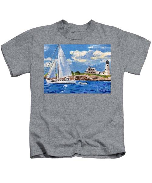 Sailing Past Wood Island Lighthouse Kids T-Shirt