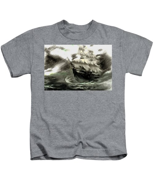 Sailing The Stormy Seas Kids T-Shirt