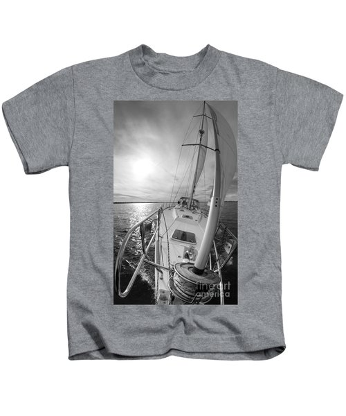 Sailing Yacht Fate Beneteau 49 Black And White Kids T-Shirt