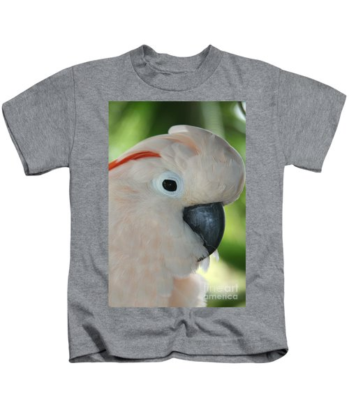 Salmon Crested Moluccan Cockatoo Kids T-Shirt by Sharon Mau