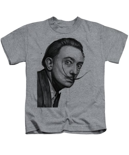Salvador Dali Portrait Black And White Watercolor Kids T-Shirt