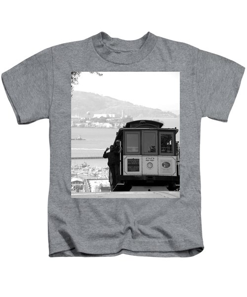 San Francisco Cable Car With Alcatraz Kids T-Shirt