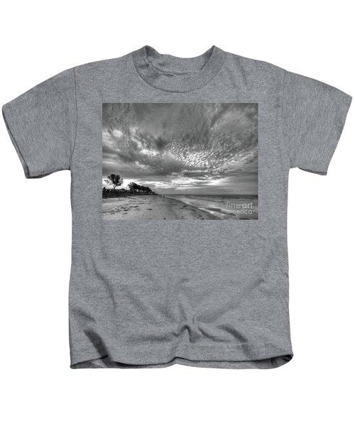 Sanibel Island Sunrise In Black And White Kids T-Shirt