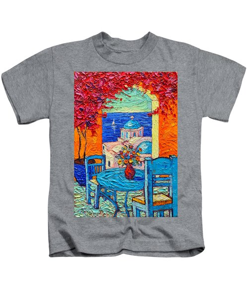 Santorini Dream Greece Contemporary Impressionist Palette Knife Oil Painting By Ana Maria Edulescu Kids T-Shirt