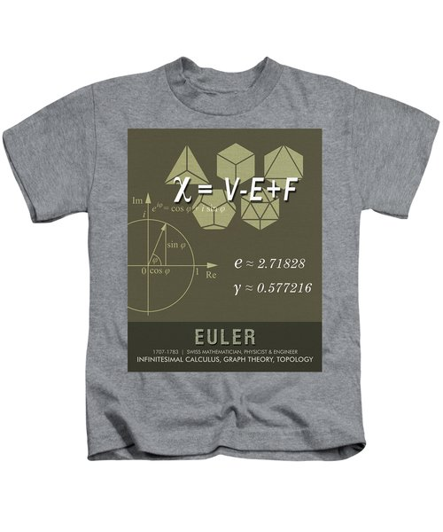 Science Posters - Leonhard Euler - Mathematician, Physicist, Engineer Kids T-Shirt