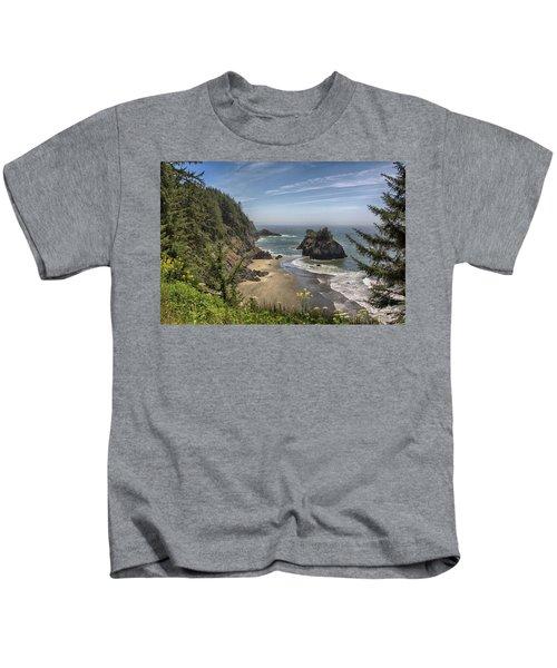 Sea Stacks And Wildflowers Kids T-Shirt