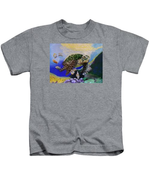 Sea Turtle Acrylic Painting Kids T-Shirt