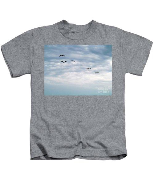 Seabirds In Flight Kids T-Shirt