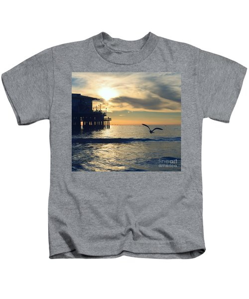 Seagull Pier Sunrise Seascape C2 Kids T-Shirt