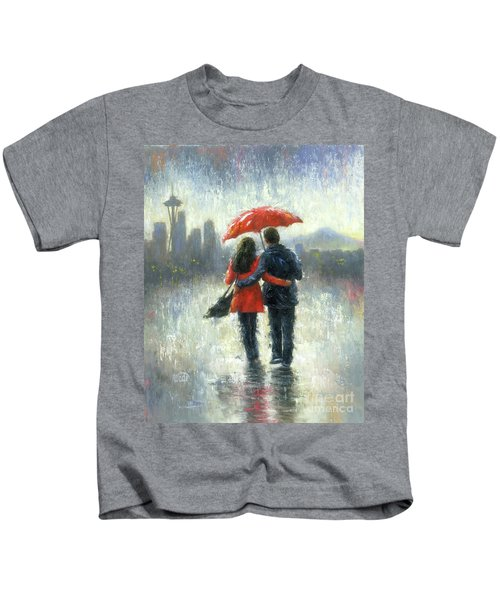 Seattle Lovers In The Rain Kids T-Shirt