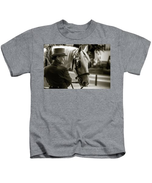 Sepia Carriage Horse With Handler Kids T-Shirt