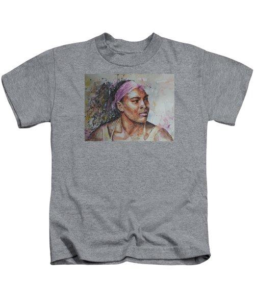 Serena Williams - Portrait 6 Kids T-Shirt by Baresh Kebar - Kibar
