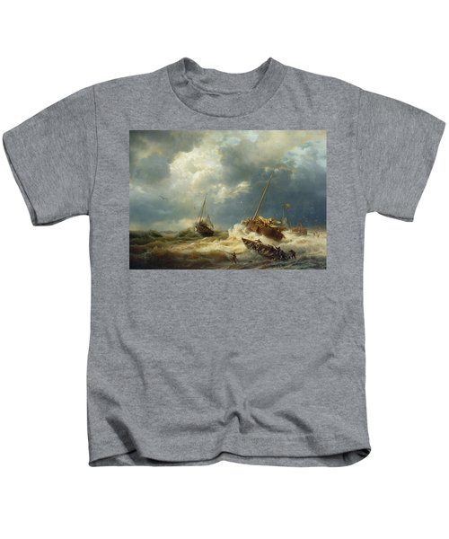 Ships In A Storm On The Dutch Coast Kids T-Shirt