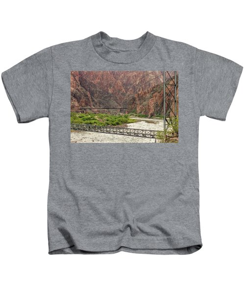 Silver And Black Bridges Over The Colorado, Grand Canyon Kids T-Shirt