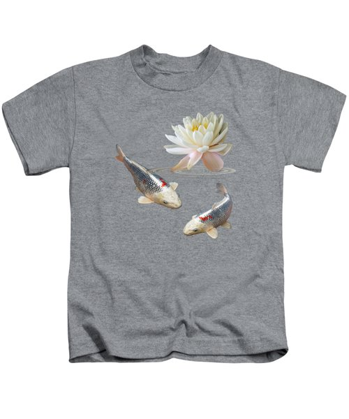 Silver And Red Koi With Water Lily Kids T-Shirt by Gill Billington