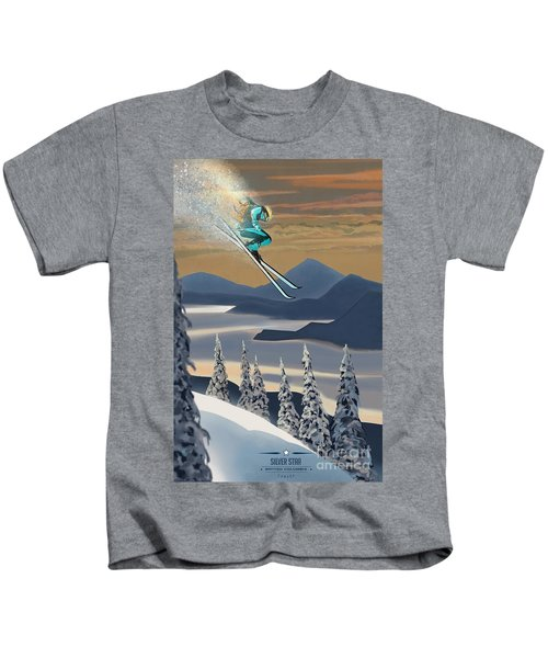 Silver Star Ski Poster Kids T-Shirt