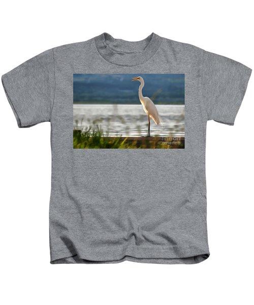 Singing White Egret Kids T-Shirt