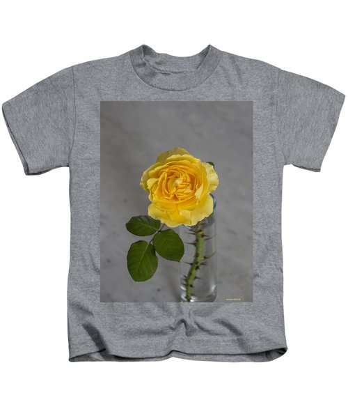 Single Yellow Rose With Thorns Kids T-Shirt