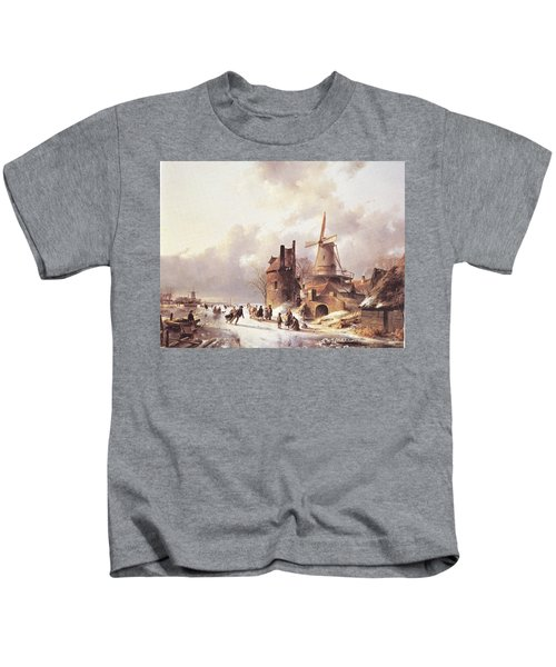 Skaters On A Frozen River Kids T-Shirt
