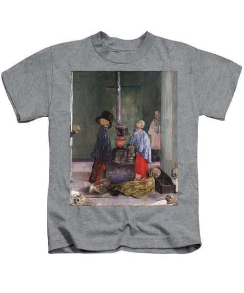 Skeletons Warming Themselves Kids T-Shirt