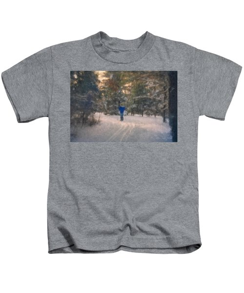Skiing Borderland In Afternoon Light Kids T-Shirt