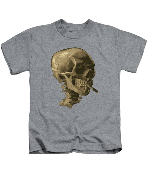 Skull Of A Skeleton With Burning Cigarette - Vincent Van Gogh Kids T-Shirt