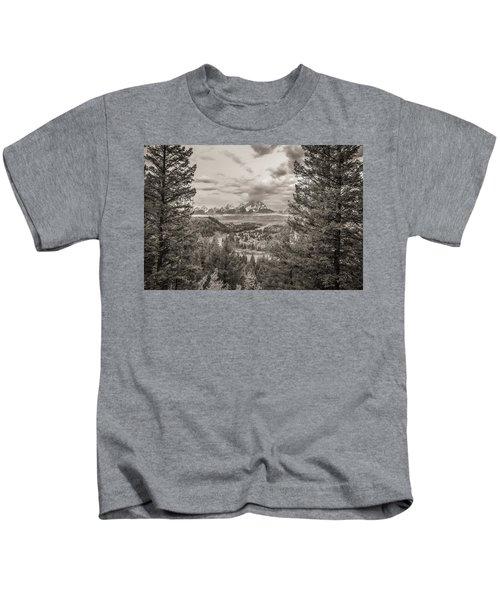 Snake River Overlook Grand Teton Monochromatic Kids T-Shirt